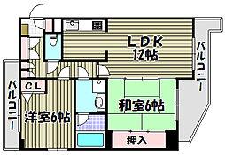 コスモ三国ヶ丘[1階]の間取り