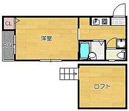 福岡県福岡市東区箱崎3丁目の賃貸アパートの間取り