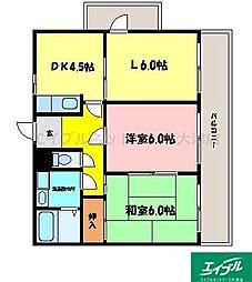 滋賀県大津市桜野町2丁目の賃貸マンションの間取り
