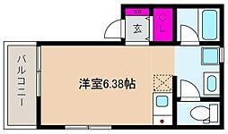 阪神本線 御影駅 徒歩9分の賃貸アパート 1階ワンルームの間取り