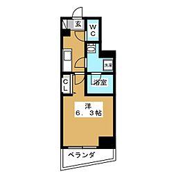 ZOOM横浜桜木町 3階1Kの間取り