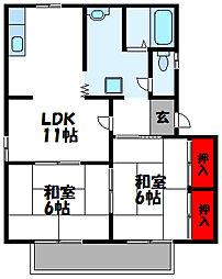 福岡県古賀市駅東2丁目の賃貸アパートの間取り