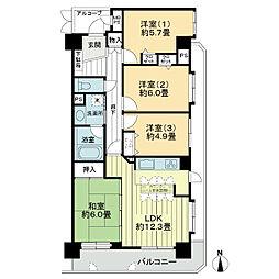 ライオンズマンション富沢公園[4階]の間取り