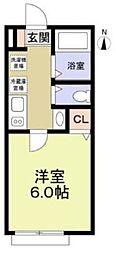 東急田園都市線 鷺沼駅 徒歩4分の賃貸アパート 1階1Kの間取り