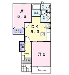 埼玉県東松山市神明町2丁目の賃貸アパートの間取り