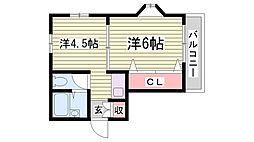 ベース新神戸[102号室]の間取り