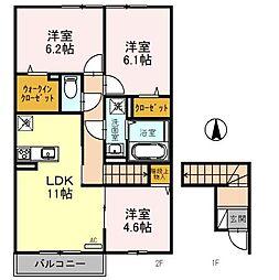 JR京浜東北・根岸線 北浦和駅 バス7分 東瀬ケ崎下車 徒歩3分の賃貸アパート 2階3LDKの間取り