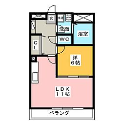 サンライズ久田[4階]の間取り