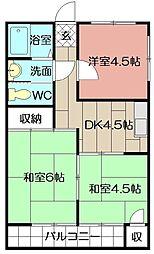 米谷堺町マンション[601号室]の間取り