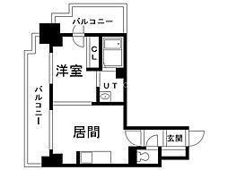 パシフィックタワー札幌 15階1DKの間取り