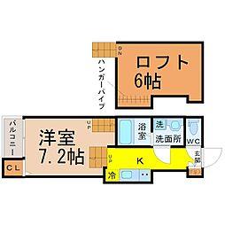 愛知県名古屋市熱田区四番1の賃貸アパートの間取り