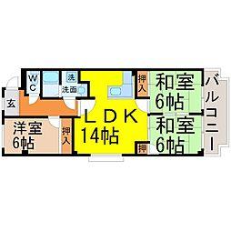 愛知県名古屋市中川区長良町1丁目の賃貸マンションの間取り