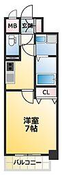 JR大阪環状線 寺田町駅 徒歩6分の賃貸マンション 3階1Kの間取り