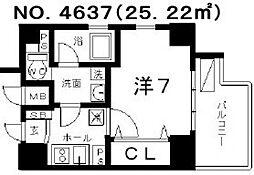 クレイドル四天王寺[7階]の間取り