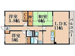 グランシャリオ2番館[2階]の間取り