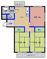 新地マンション C棟[402号室]の間取り