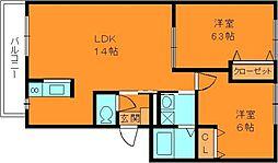 モンテ中山台 3階2LDKの間取り