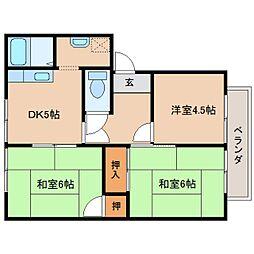 奈良県奈良市平松2丁目の賃貸アパートの間取り