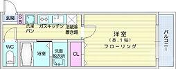 仙台市地下鉄東西線 大町西公園駅 徒歩11分の賃貸マンション 1階1Kの間取り
