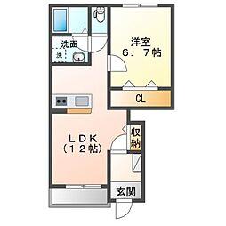 JR内房線 長浦駅 バス13分 笠上橋下車 徒歩7分の賃貸アパート 1階1LDKの間取り