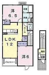 サンライト若松III[2階]の間取り