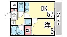 兵庫県神戸市須磨区車字古川の賃貸マンションの間取り