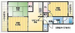 エクレール平川B棟[104号室]の間取り