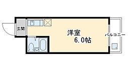 ハイツアマデウス壬生 3階1Kの間取り