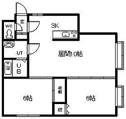 コットンハウス17 1階2LDKの間取り