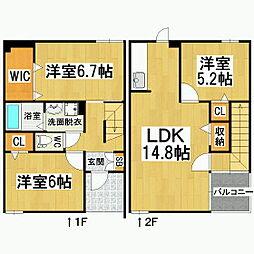 長野県松本市庄内3丁目の賃貸アパートの間取り
