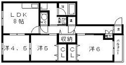大阪府大阪市阿倍野区阪南町3丁目の賃貸アパートの間取り