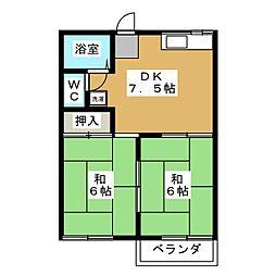 プレジール浅野[2階]の間取り