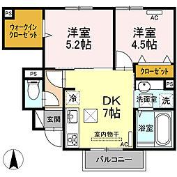 山口県山陽小野田市平成町の賃貸アパートの間取り