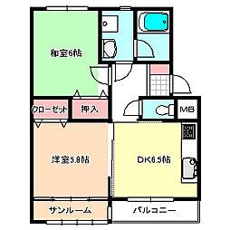 新潟県燕市新興野の賃貸アパートの間取り