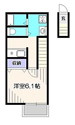 東京都立川市高松町2丁目の賃貸アパートの間取り