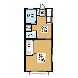 東急東横線 祐天寺駅 徒歩14分の賃貸アパート 2階1DKの間取り