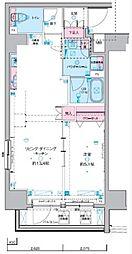 ジェノヴィア東神田グリーンヴェール 11階1LDKの間取り