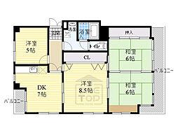 ユーデンビル 3階4DKの間取り