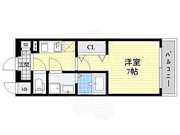 エスプレイス大阪城サウスコンフォート 15階1Kの間取り