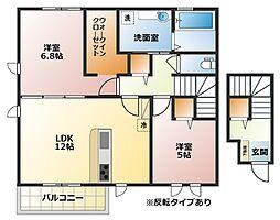 大阪府八尾市本町3丁目の賃貸アパートの間取り
