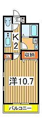 フラワーマンション天王台 2階1Kの間取り
