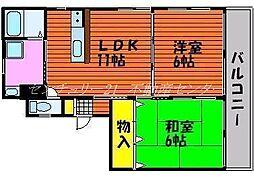 岡山県岡山市中区江並の賃貸マンションの間取り