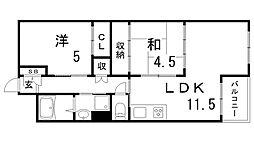 中山手コーポ[6階]の間取り