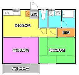 東京都東久留米市八幡町1丁目の賃貸アパートの間取り