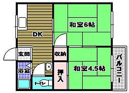 奥山ハイツA棟 2階2DKの間取り