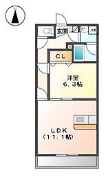 愛知県名古屋市北区楠4丁目の賃貸マンションの間取り