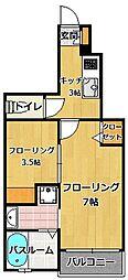 福岡県福岡市早良区飯倉7丁目の賃貸アパートの間取り