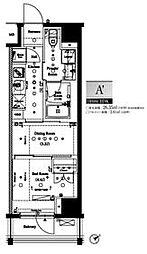 都営大江戸線 門前仲町駅 徒歩5分の賃貸マンション 7階1DKの間取り