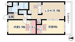 愛知県名古屋市守山区八反の賃貸マンションの間取り