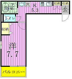 千葉県松戸市馬橋の賃貸アパートの間取り